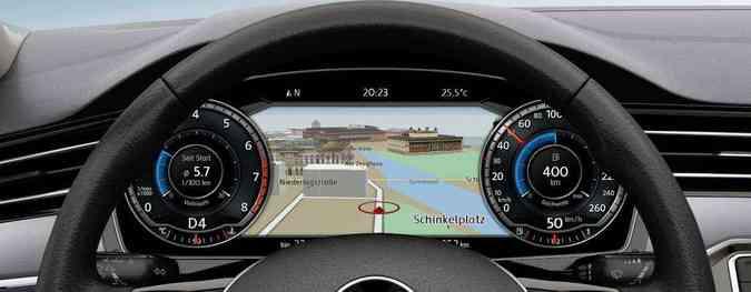 Painel programável (opcional) é novidade na nova geração do Passat(foto: Volkswagen/Divulgação)