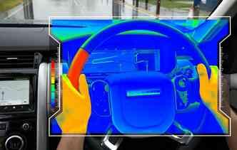 Através do aquecimento ou resfriamento de um lado do volante, motorista pode ser avisado quando deve entrar à esquerda ou à direita. Foto: Jaguar Land Rover / Divulgação