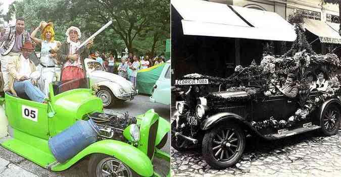 Desfile de carros antigos no carnaval 2005 e corso em BH nos anos 1920(foto: Beto Magalhaes/Estado de Minas - 30/01/2005 e Igino Bonfioli/EM. Brasi)