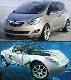 Meriva Concept e Rinspeed sQuba - Opel/Divulgação e Rinspeed/Divulgação