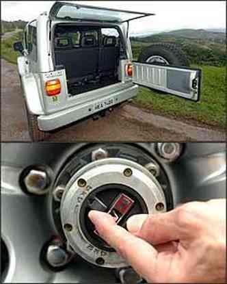 Porta-malas tem até bom acesso, mas capacidade é muito limitada. Sistema de roda livre é engatado manualmente, na roda dianteira(foto: Renato Weil/EM - 01/12/06)