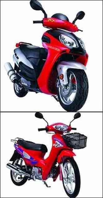 Scooter HB 150 (mais acima) tem freio a disco nas duas rodas. Motoneta HB 110 tem câmbio semi-automático e rotativo(foto: Fotos: HaoBao/Divulgação)