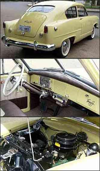 Desenho da traseira justifica apelido do modelo lançado em 1951, nos Estado Unidos. Interior tem acabamento muito simples e preserva originalidade. Motor Willys de seis cilindros desenvolve 80 cv de potência
