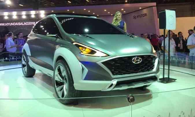 O conceito Saga EV, apresentado no ano passado, revelou as linhas do novo Hyundai HB20(foto: Pedro Cerqueira/EM/D.A Press)