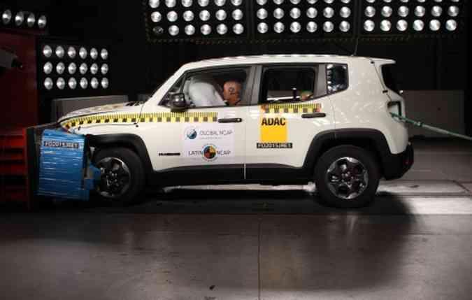 O Jeep alcançou 5 estrelas para adultos e para crianças(foto: Latin NCAP/Divulgação)