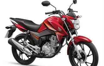 Novas versões da CG 160 Fan e CG 160 Titan passam a ser comercializadas nas cores vermelho e preto sólidos para Fan, e vermelho perolizado em combinações de faixas em laranja, e preto perolizado em combinações de faixas em verde para Titan(foto: Honda / Divulgação)