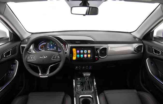 A partida é por botão e a central multimídia de 9 polegadas com Android Auto e Apple CarPlay. Foto: Divulgação.