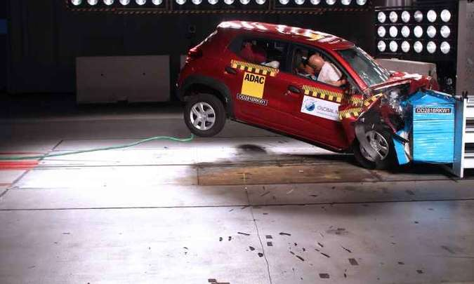 O Kwid produzido para o mercado indiano foi reprovado no crash teste do Global NCAP, mas a Renault afirma que o brasileiro é diferente(foto: Global NCAP/Divulgação)