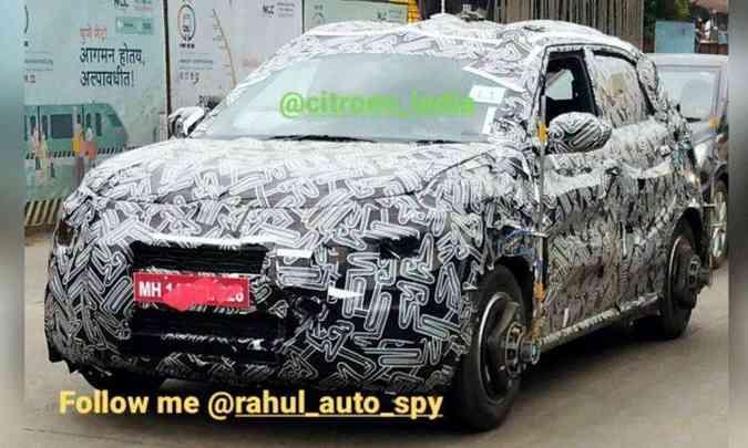 Chamado de C3 Sporty, o novo hatch compacto já foi flagrado em testes na Índia e no Brasil(foto: TeamBHP/Reprodução)