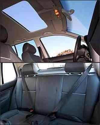 Teto solar elétrico é opcional na versão GT. Já o banco traseiro não tem apoio de cabeça nem cinto de três pontos para quem senta no meio