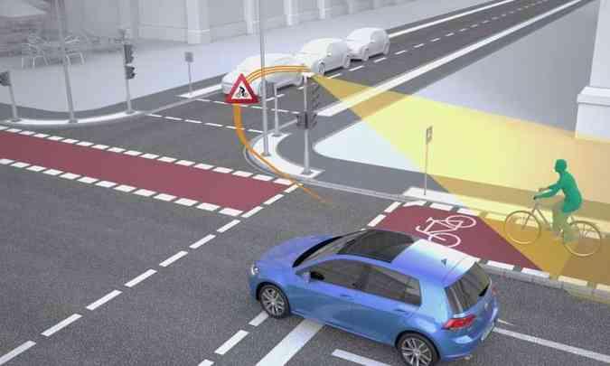 Sensores captam a presença de pedestres ou ciclistas e informam aos veículos(foto: Volkswagen/Divulgação)
