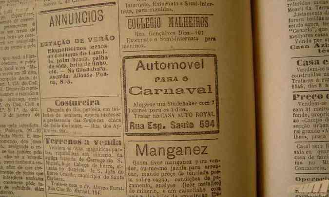 Anúncio no jornal Minas Gerais de fevereiro de 1925 oferece aluguel de carro para o carnaval(foto: Jornal Minas Gerais, 19/02/1925, p. 1. )
