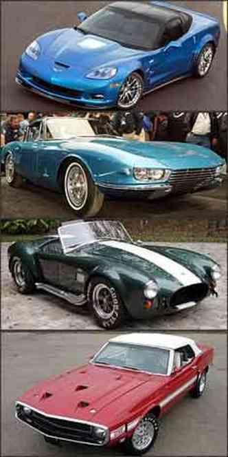 Corvette ZR1 2009, Chevrolet Corvette Rondine 1963, Shelby Cobra 1967 e Shelby Mustang GT 500 1969
