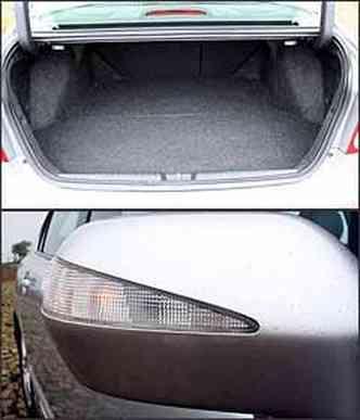 Capacidade do porta-malas é bem limitada. Retrovisores tem luzes de direção
