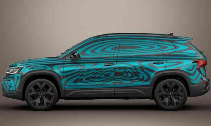 Molduras nas caixas de rodas e formas robustas ajudam a compor o visual parrudo do VW Taos(foto: Volkswagen/Divulgação)