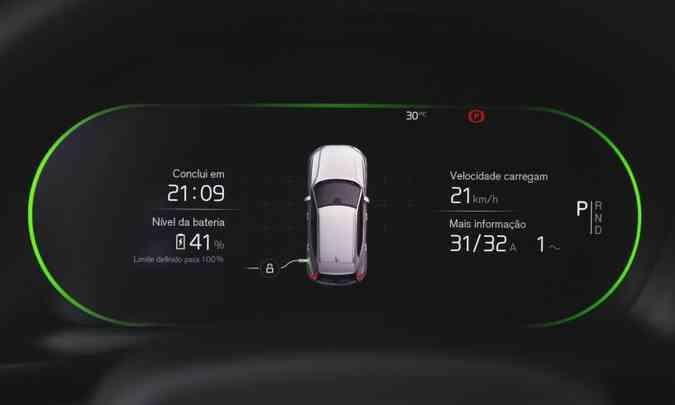 No painel digital, o motorista tem acesso a informações como nível de carga da bateria e tempo de recarga(foto: Fábio Aro/Volvo/Divulgação)