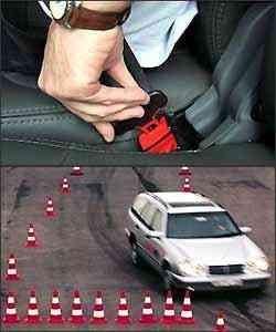 Nas inspeções do cinto de segurança, é imprescindível conferir se a trava está funcionando devidamente. Carro equipado com freios ABS sem defeito é capaz de desviar de obstáculos em frenagem forte na curva - Marlos Ney Vidal/EM/D.A Press - 27/10/06 e Bosch/Divulgação