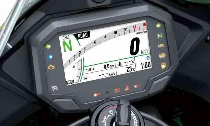 ...e diferentes configurações, com velocímetro e conta-giros digitais(foto: Kawasaki/Divulgação)