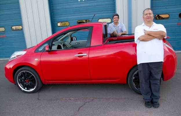 Roland Schellenberg e Arnold Moulinet colocaram a mente para funcionar e construíram uma picape feita a partir do hatch LEAF e da Frontier - Nissan/ divulgação