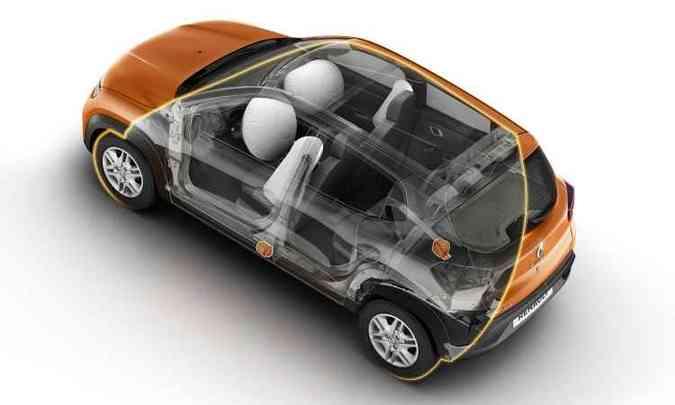 Airbags frontais e laterais, além de Isofix, são de série(foto: Renault/Divulgação)