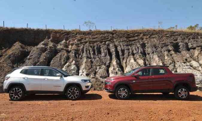 SUV médio Jeep Compass vendeu mais que o campeão dos compactos; Fiat Toro foi novamente líder entre as picapes intermediárias(foto: Jair Amaral/EM/D.A Press)