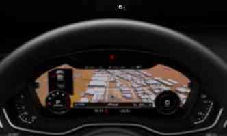 No painel, destaque para o Audi Virtual Cockpit, que exibe em uma tela de 8 polegadas bem à frente do motorista todas as informações e o mapa de navegação(foto: Audi/ divulgação)