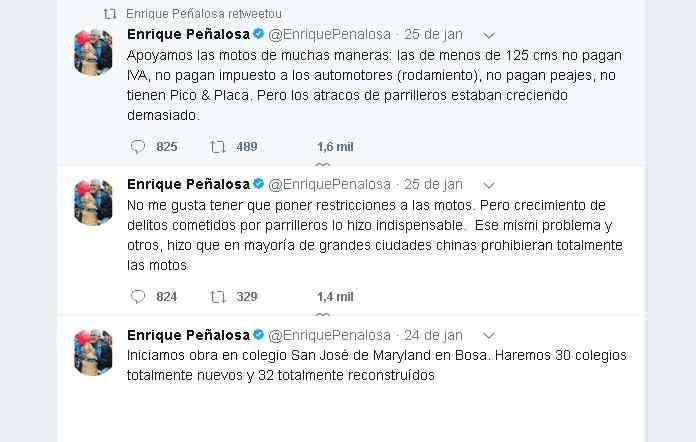 Peñalosa fala sobre a medida em sua conta no Twitter - Reprodução da internet