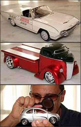 Thunderbird réplica de carro-madrinha da 500 Milhas. Caminhão Ford Coe modificado no estilo hot rod. José Luis confere miniatura do Ford Ka com uma lupa, observando todos os detalhes