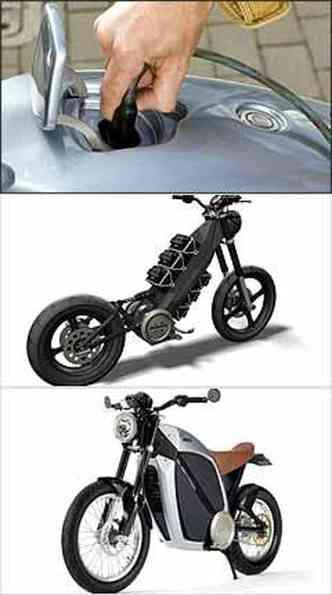 As baterias podem ser recarregadas em três horas. Visualmente é uma moto convencional, mas nem escapamento tem