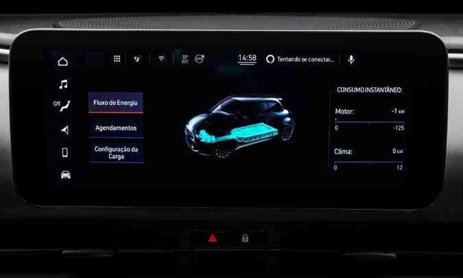 Na tela de 10,25 polegadas da central multimídia o usuário tem acesso ao funcionamento do sistema de propulsão elétrica(foto: Fiat/Divulgação)