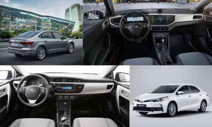 (foto: Colagem com fotos de divulgação da Volkswagen e Toyota)