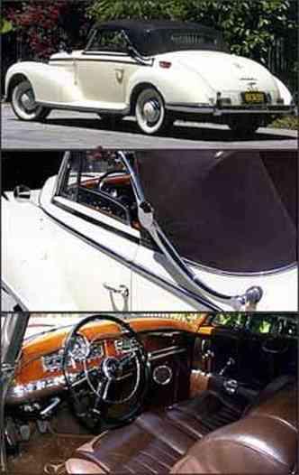 Haste cromada, denominada Landau, auxilia na abertura da capota do modelo de linhas curvas. Interior com acabamento requintado usa madeira nobre no painel