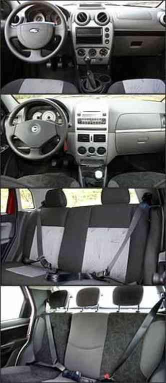 Painel do Fiesta tem novos mostradores analógicos e o do Palio continua com saídas de ar limitadas. Banco traseiro do modelo Ford não tem terceito encosto de cabeça mas, no Fiat, equipamento é de série(foto: Fotos: Marlos Ney Vidal/EM - 24/3/07)