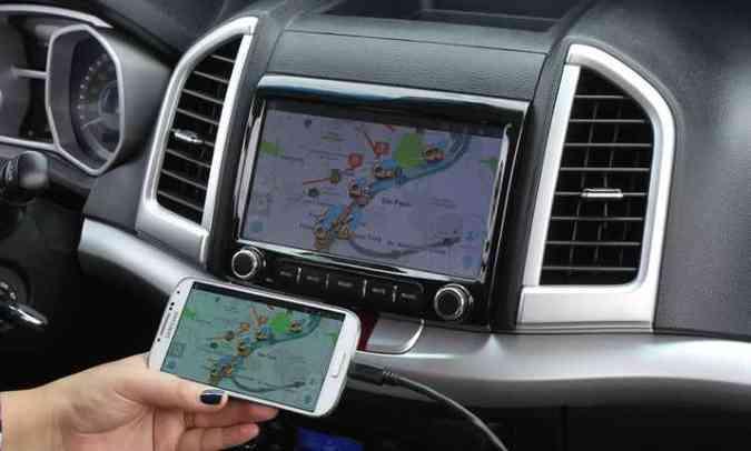 Central multimídia traz função Link, que permite conectar, espelhar e operar smartphones(foto: Divulgação/JAC)