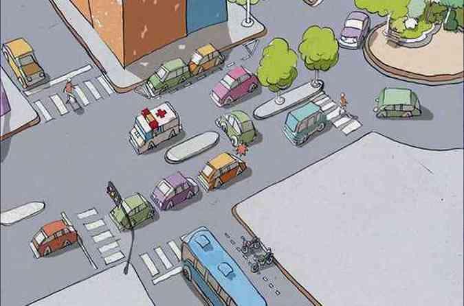 Saber se posicionar no trânsito pode evitar diversos acidentes, desde os graves até aqueles que trazem dor de cabeça e prejuízo(foto: Arte EM)