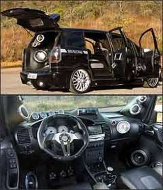 De portas abertas, veículo é uma usina de som, com mais de 5 mil watts. Interior é esportivo, com bancos tipo concha e muitos instrumentos
