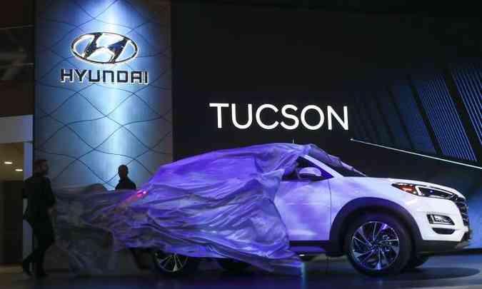 O novo Hyundai Tucson também marca presença em Nova York(foto: Drew Angerer/AFP)