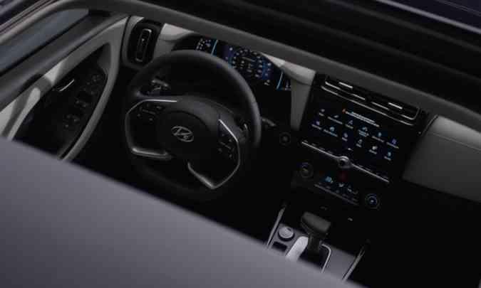 O painel de instrumentos é digital e o sistema multimídia blueNAV tem tela tátil de 10,25 polegadas(foto: Hyundai/Divulgação)