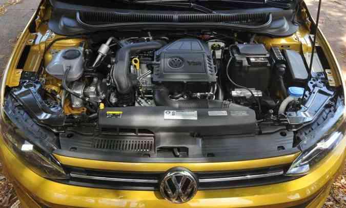 O eficiente motor 1.0 TSI, com turbo e injeção direta de combustível(foto: Jair Amaral/EM/D.A Press)