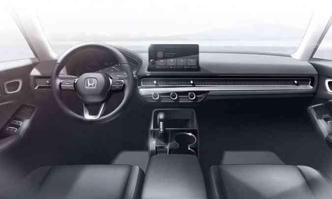 O interior tem desenho horizontalizado e bem limpo, com poucos elementos e saídas de ar camufladas(foto: Honda/Divulgação)