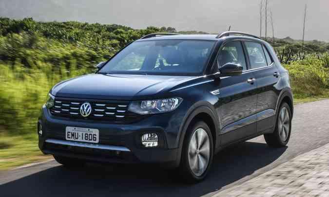O VW T-Cross fez barulho no segmento de SUVs compactos com bom conjunto mecânico e tecnologia(foto: Pedro Danthas/VW/Divulgação)