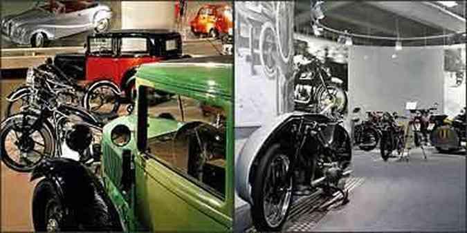 Primeiros carros produzidos pela marca alemã dividem o espaço com diferentes modelos de motos e nas paredes, painéis fotográficos registram cenas de outras épocas