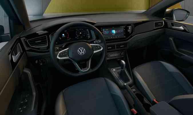 Destaque no interior é o sistema de infotainment VW Play, que permite download de aplicativos(foto: Volkswagen/Divulgação)