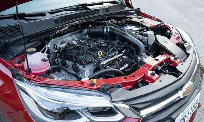 O motor 1.0 turbo proporciona bom desempenho, mas não tem injeção direta de combustível(foto: Jorge Lopes/EM/D.A Press)