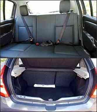 Falta apoio de cabeça e cinto de três pontos no meio atrás. Porta-malas tem boa capacidade para um modelo hatch: 320 litros