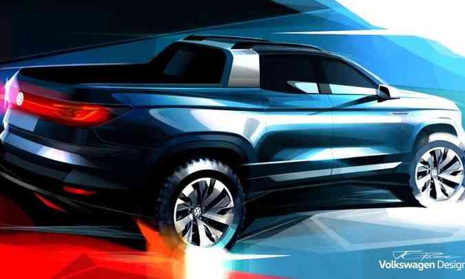O esboço divulgado pela VW mostra como serão as linhas da picape intermediária que será apresentada como conceito(foto: Volkswagen/Divulgação)