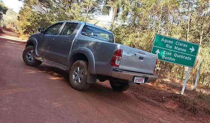 Durante o test-drive passamos por esse lugar curioso: e a Hilux aguentou firme!(foto: Thiago Ventura/EM/D.A Press)