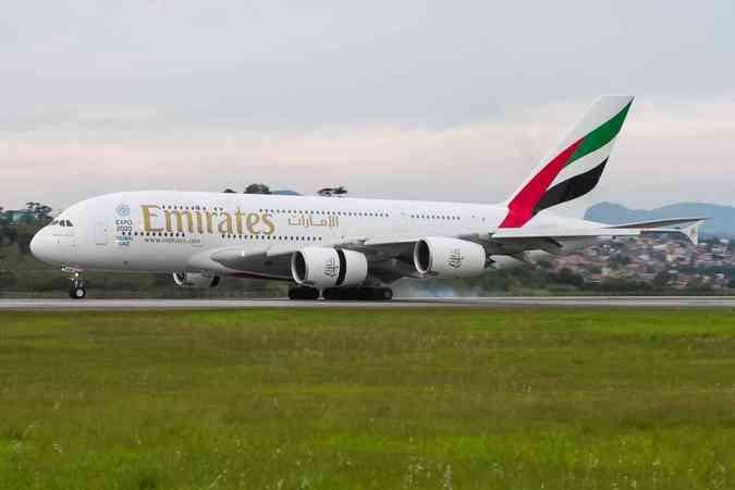 Airbus A380 da Emirates no Aeroporto Internacional de São Paulo (GRU)Rodrigo Cozzato/Divulgação GRU Airport