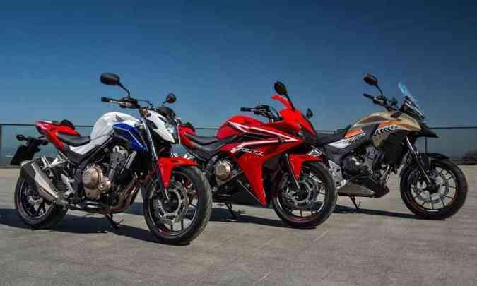 Lado a lado, as Honda CB 500F, CB 500R e CB 500X(foto: Honda/Divulgação)