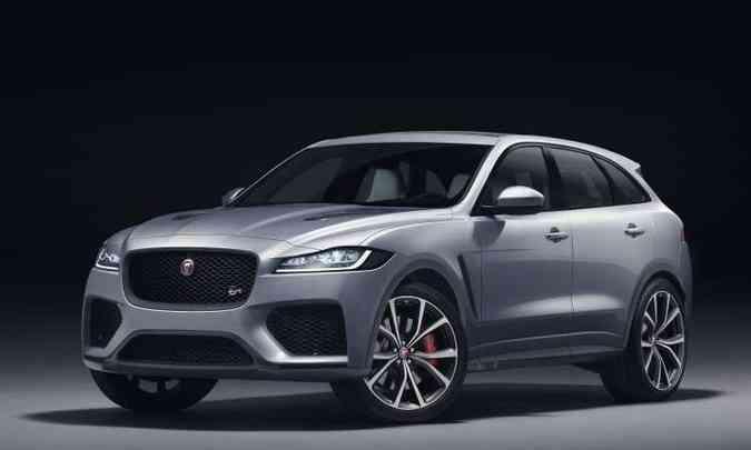 O destaque da Jaguar é o F-Pace SVR, versão equipada com motor V8 de 550cv(foto: Jaguar/Divulgação)